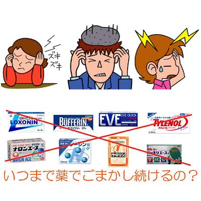 薬はあくまで頭痛を抑えるだけで頭痛を治すことはありません