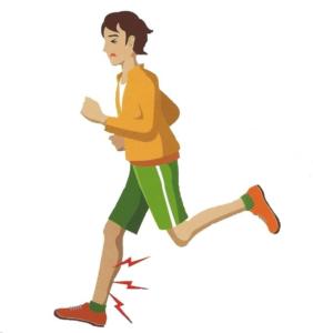 ジョギング中に右足を痛める